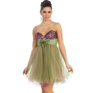 Short Cocktail Dance Party Dress Sage/Fuchsia NWT